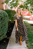 Short Sleeve High Low Floral Maxi - Black