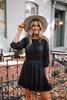 Crochet Detail Ruffle Hem Dress - Black