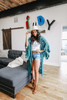 Scalloped Lace Embroidered Kimono - Teal