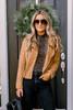 Monroe Faux Suede Moto Jacket - Camel