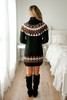 Turtleneck Printed Sweater Dress - Black - FINAL SALE