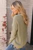V-Neck Frayed Sweater - Olive