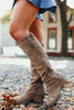 Faux Suede Strips Galore Boots - Taupe