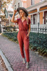 Short Sleeve Surplice Jumpsuit - Brick