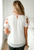 Floral Embroidered Dotted Blouse - Ivory/Rust