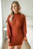 Mock Neck Brushed Sweater Dress - Brick