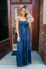 Come Twilight Tie Front Tiered Maxi - Navy