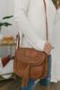 Faux Leather Studded Tassel Crossbody - Tan