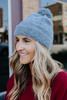 Soft Eyelash Charcoal Pom Beanie