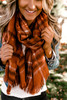 Brushed Plaid Oblong Scarf - Rust