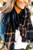 Brushed Plaid Oblong Scarf - Navy