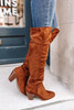Faux Suede Thigh High Chestnut Boots