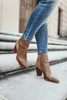 Contrast Buckle Back Booties - Taupe - FINAL SALE