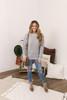 Criss Cross Sleeve Flecked Sweater - Grey - FINAL SALE