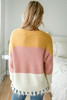 Colorblock Frayed Sweater - Mustard/Pink/Ivory