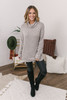 Cowl Neck Zipper Detail Pullover - Heather Taupe