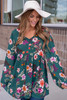 V-Neck Bell Sleeve Floral Tunic - Hunter Green - FINAL SALE