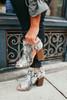 Snakeskin Peep Toe Booties - Grey Multi