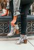 Snakeskin Peep Toe Booties - Grey Multi  - FINAL SALE