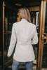 Open Front Herringbone Jacket - Grey/White