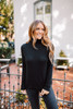 Soft Brushed Mock Neck Top - Black