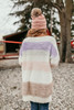 V-Neck Fuzzy Colorblock Sweater - Cream Multi