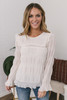 Tiered Pleated Peasant Blouse - Cream