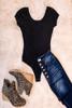 Scoop Neck Bodysuit - Black