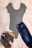 Scoop Neck Bodysuit - Heather Grey