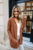 Two Tone Hooded Cardigan - Copper