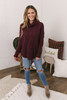 Turtleneck Cable Knit Sweater - Burgundy