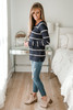 Ribbed Raglan Striped Sweater - Navy/Oatmeal