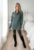 Cowl Neck Brushed Pullover - Hunter Green - FINAL SALE