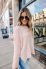 Open Knit Peach Pink High Low Sweater
