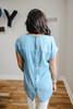 Button Back Denim Pocket Top