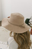 Faux Suede Braid Tassel Hat - Light Camel
