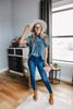 Free People Le Femme Navy Blouse
