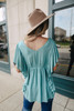 V-Neck Ruffle Dotted Teal Empire Top