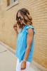V-Neck Blue Ruffled Sleeve Blouse