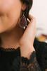 Beaded Teardrop Earrings - Burgundy