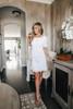 Short Sleeve Ivory Ruffle Pom Dress