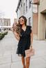 Faux Wrap Black Pom Dress