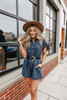 Button Down Navy Charcoal Romper