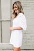 Square Neck White Eyelet Dress