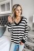 V-Neck Black Stripe Pullover