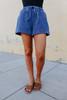 Drawstring Dark Wash Denim Shorts