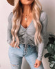 Ruched Front Grey Ribbed Top