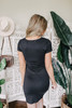 Ruched Detail Black Knit Dress
