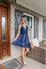 V-Neck Navy Tie Dye Lace Dress