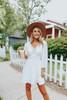 V-Neck Crochet Detail White Crinkle Dress
